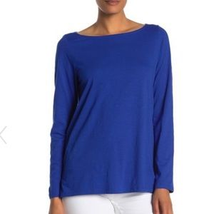 Eileen Fisher Bateau Top royal blue tee size large